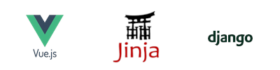 vuejs logo jinja2 logo django logo